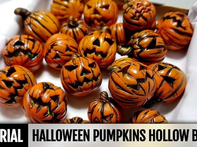 DIY How to make Polymer clay Halloween Pumpkins Hollow beads- Full Process . Video tutorial