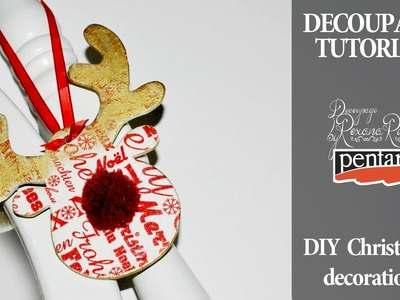 English subtitles - diy christmas decorations decoupage tutorial