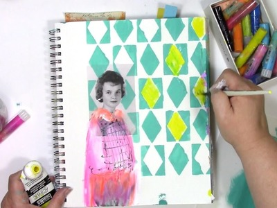 How I art journal using vintage photos and stencils