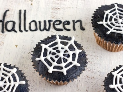 How to make Halloween Spider Web Cupcake Toppers | HappyFoods