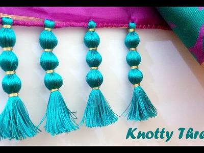 How to make Saree Kuchu Design using Silk Thread - Beaded Design at Home | Tutorial !!