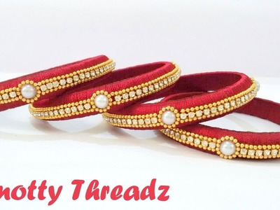 How to make Silk Thread Stone Bangles using Half Cut Pearls at Home | Tutorial !!