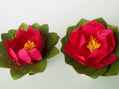 How To Make Water Lily Paper Flower - Very Easy And Simple