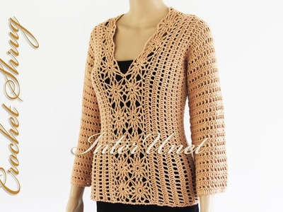 Lace sweater shrug crochet pattern - how to crochet a pullover. Part 1 of 2