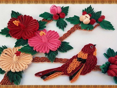 Paper Quilling how to make Beautiful bird, 3D Mandaram flowers and leaves handcrafted wall frame
