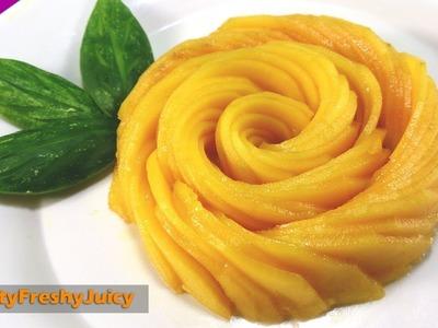 Very Sexy Mango Flower Carving Garnish - How To Make Mango Rose