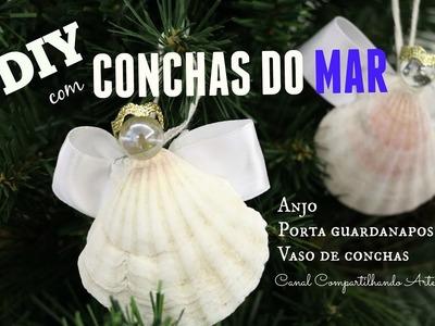 DIY com conchas do mar - anjo, porta guardanapos e vaso de conchas - NATAL TROPICAL # 1