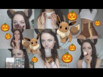 DIY Eevee Pokemon Halloween Costume + Makeup.Look+ Try on! | Ellawatermella