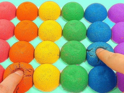 DIY How To Make Kinetic Sand Rainbow Colors Balls Toy | nursery rhymes | kids songs | Ten in the bed