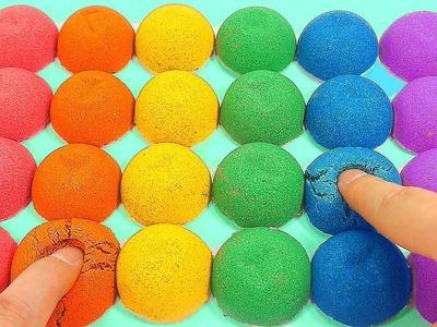 DIY How To Make Kinetic Sand Rainbow Colors Balls Toy | nursery rhymes | kids songs | Ten in the bed