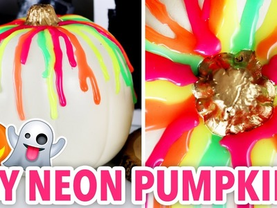 DIY NEON Halloween Pumpkins ~ EASY NO-CARVE | @karenkavett