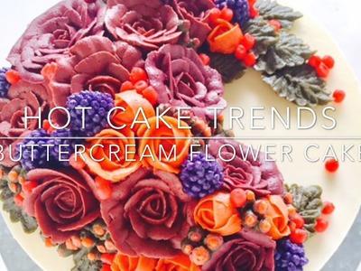 HOT CAKE TRENDS 2016! Buttercream Harvest Time Flower Wreath Cake - How to make by Olga Zaytseva