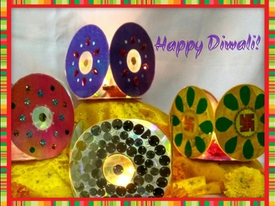 How to protect your diyas this Diwali with decorative chimney.lanterns made out of CDs or DVDs