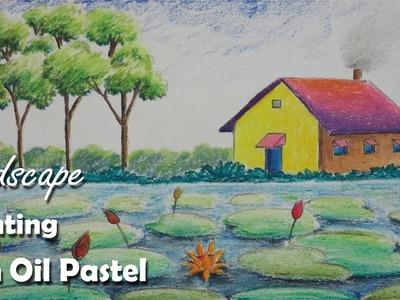 Oil Pastel Painting | How to Paint a Village Landscape