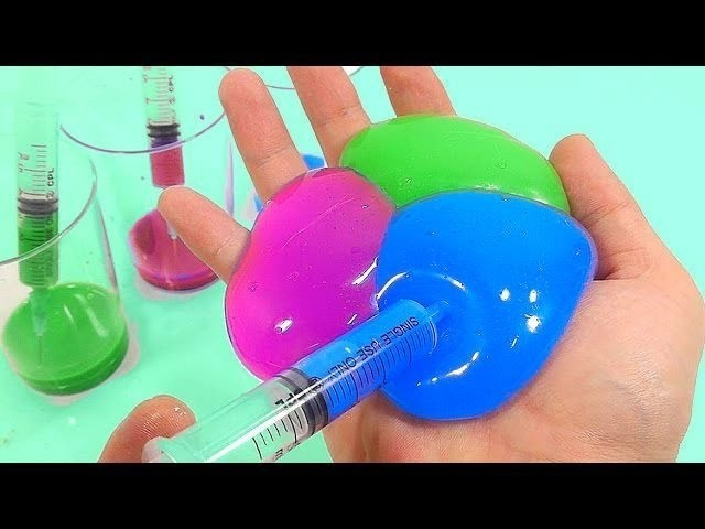 Syringe Slime DIY How To Make Colors Paints Water Balloons Clay Toys   nursery rhymes   kids song