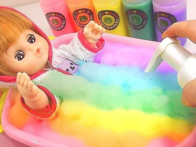 Twinkle Twinkle Little Star DIY How To Make Colors Bubble Bathtub Baby Doll Learn Colors Slime