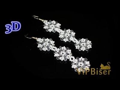 Beaded Snowflake Earrings. 3D Beading Tutorial