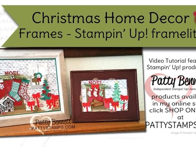 Christmas Home Decor Frame with Stampin' Up! framelits - Patty Bennett