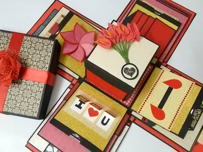 Explosion box Theme - Valentine. Black, red and gold  by Srushti Patil