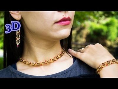 Exquisite Beaded Jewelry Set. 3D Beading Tutorial