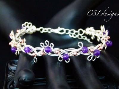 Organic beaded wirework braided bracelet