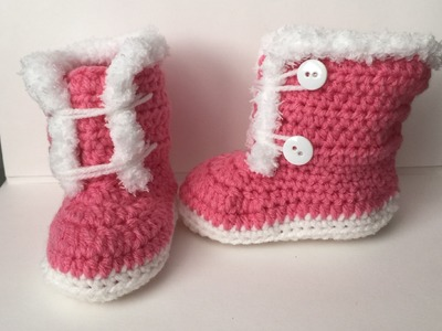 Crocheted 6-9 month Fuzzy. Fur Trim Boots | Video Tutorial