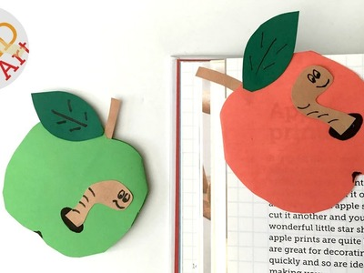 Easy Apple Bookmark Corner for Back to School - Book Worm - Teacher's Gift