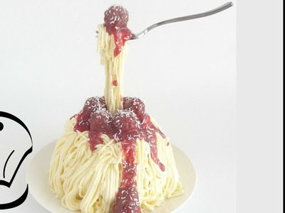 Easy Buttercream Gravity Defying Spaghetti and Meatball Pasta Cake by Cupcake Savvy's Kitchen