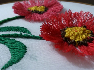 Hand embroidery-pom pom  flower stitch-leisha's galaxy.