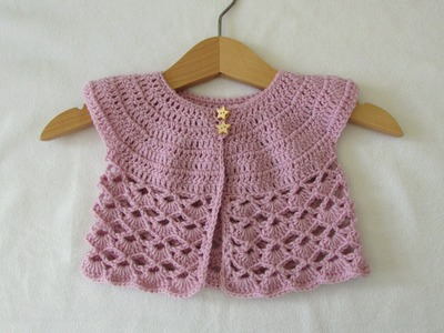 How to crochet an EASY lace baby cardigan. sweater
