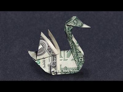 Money Origami Swan - 360° view - Dollar Bill Art