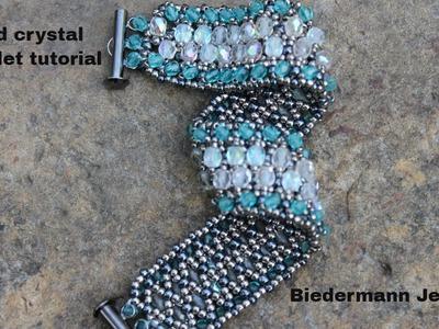 Netted crystal beaded bracelet tutorial
