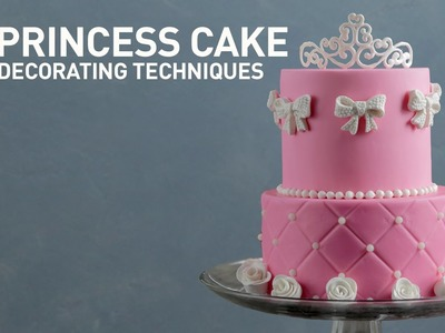 Princess Cake Ideas: Tiara & Rose Sugar Designs   Fondant Cake Decorating Tutorial