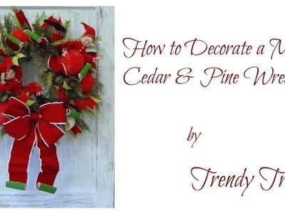 Decorate a RAZ Cedar & Pine Wreath for Christmas