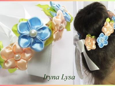 DIY: Crown Headband, flower satin ribbon, tutorial, Мини-веночек на пучок из цветов канзаши #41