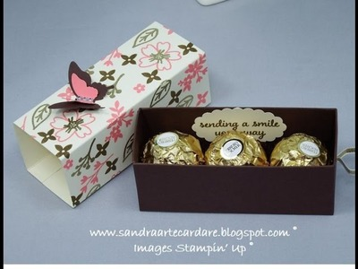 Ferrero Rocher Treat Box with ribbon pull using Stampin' Up products