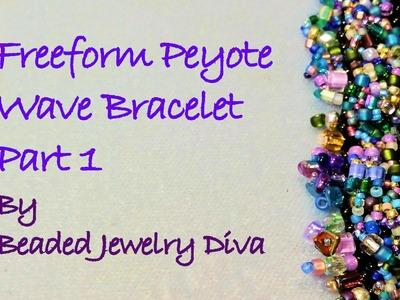 """Freeform Peyote Tutorial:  """"The Wave"""" Beaded Bracelet Tutorial Part 1"""