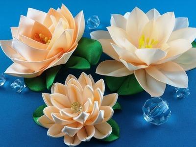 Ribbon lotus:3 ways to make.Lotus de las cintas:3 variantes de hacer.Лотос из лент: 3 варианта