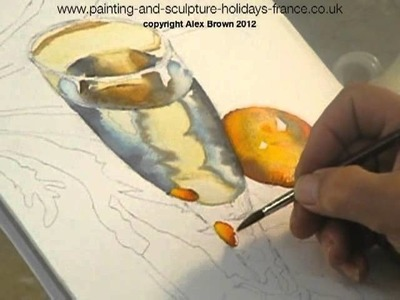 Water colour, painting a glass of water