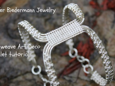 Wire weave Art Deco bracelet revised tutroial