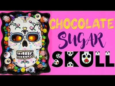 CANDY SUGAR SKULL | Chocolate Halloween Skeleton w. GLOWING EYES! Day of the Dead!
