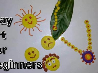 Clay tutorial : Clay art for beginners (for nursery kids) | emoji | necklace | caterpillar | sun