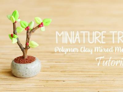 Cute Miniature Tree│Polymer Clay Mixed Media Tutorial
