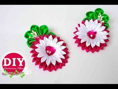 DIY. Kanzashi tutorial. Flower scrunchy.The Flower from the satin ribbon.