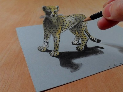 Drawing a 3D Cheetah, Amazing Animals, Illusionistic Art