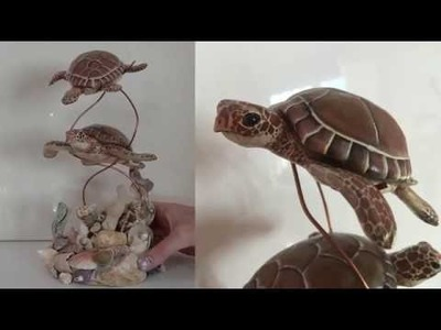 Green Sea Turtle Polymer Clay Sculpture