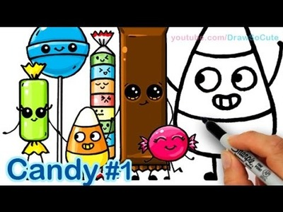 How to Draw Cartoon Candy Sweets Cute and Easy step by step - Halloween Trick or treat