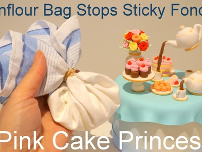 How to Make Easy Cornfour Bag for Cake Decorating (Stops Sticky Fondant) by Pink Cake Princess