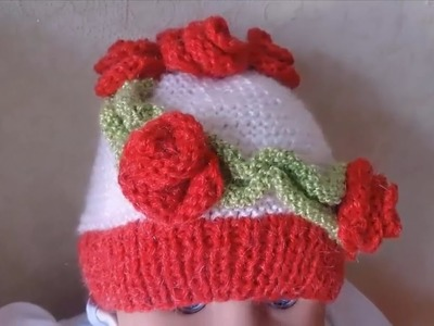 Knitting  Lesson № 53 Baby beanie for girls for the age from 0 to 6 months