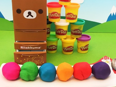 Play Doh Re-ment Rilakkuma refrigerator Surprise Clay balls 【Emily's Show】